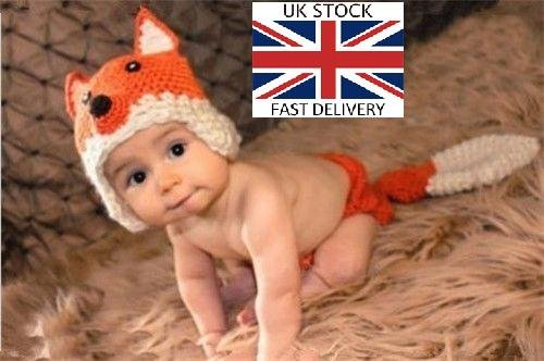 Fox, Newborn Baby Girl Boy Crochet Knit Costume Photo Photography Prop Hats Outfits (Fox)