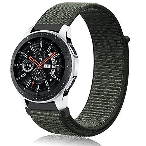 Th-some 22mm Cinturino Nylon per Samsung Gear S3, Cinturino in Elastico in Nylon per Galaxy Watch 46mm, Cinturino di Ricambio Sportivo Nylon per Galaxy Watch 46mm/Galaxy Watch Active/Gear S3(Grigio)