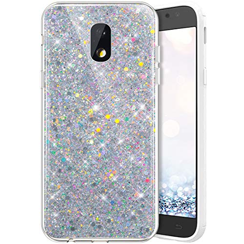 QPOLLY Glitzer Hülle Kompatibel mit Samsung Galaxy J3 2017,Kristall Glänzend Strass Diamant Silikon Schutzhülle Crystal Clear TPU Silikon Handytasche Handyhülle Case für Galaxy J330,Silber