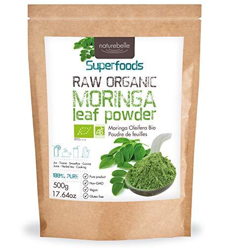 Moringa Orgánica en polvo - Polvo de hoja de Moringa Oleifera 500g | Orgánica certificada | Polvo de hoja de Moringa orgánica cruda | Rica en antioxidantes, hierro, fibra, calcio | 100% pura | Vegana