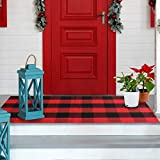 VUDECO Buffalo Plaid Rug 23.5 x 52 Red and Black Check Front Door Mat for Christmas Decor Indoor & Outdoor Kitchen Laundry Bathroom Sitting Room Porch Farmhouse Entryway Layering Mats Checkered