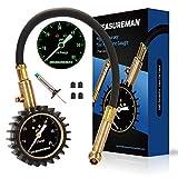 Measureman 2' Dial Tire Pressure Gauge, Tire Tread Depth Gauge Test Kit - 60 PSI, Pressure Hold and Release, 360 Degree Swivel, Flexible Hose,Glow-in-Dark Reading