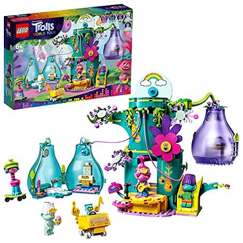 LEGO 41255 Trolls World Tour Fiesta en Pop Village, Juguete de Construcción de Casa en Árbol con 5 Mini Figuras y Accesorios