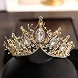 COCIDE Gold Crown for Women Baroque Queen Crown and Tiara for Girls Crystal Headband Mermaid Crown Princess Hair Accessories for Bride Birthday Party Bridesmaids Halloween Costume Cosplay