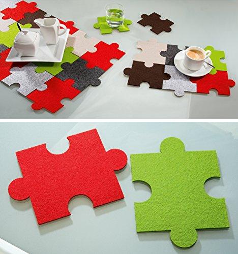 Vilten onderzetters puzzel, set van 6 3xgroen 3xrood, wasbaar, vilten onderzetter, Gilde Handwerk