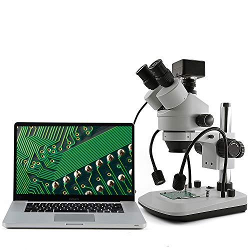 SWIFT S7-TGL Stereo Trinokular Mikroskop 7X-45X Vergrößerung, Auflicht und Duchlicht LED-Beleuchtung und duale Schwanenhals Beleuchtung, 0.5X C-Mount Adapter