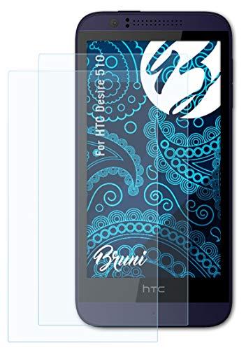 Bruni Schutzfolie kompatibel mit HTC Desire 510 Folie, glasklare Bildschirmschutzfolie (2X)