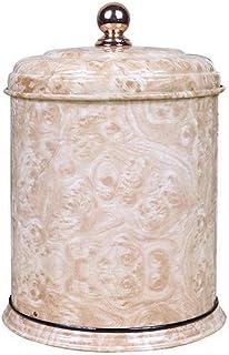 Wastebasket,Desktop Trash,Kitchen Living Room Simple Stainless Steel Round Storage Bucket Marble Pattern Indoor Dustbins Baskets