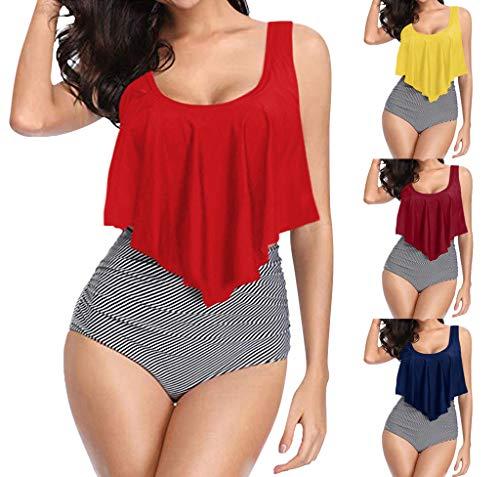 NKAA Women Tankini Swimsuits Layered Ruffle Flounce Tankini Top with Boyshorts Two Piece Bathing Suits