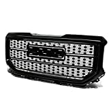 Replacement for GMC Sierra 1500 ABS Denali Style Front Bumper/Hood Grille/Grill (Black)