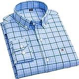 FGSJEJ Camisa clásica a Cuadros Manga Larga de algodón para Hombre Camisa de Jeans para Se Puede Utilizar colegas,Hijos,Amantes,Padres,etc.(TallaS-3XL) 20 coloresdisponibles