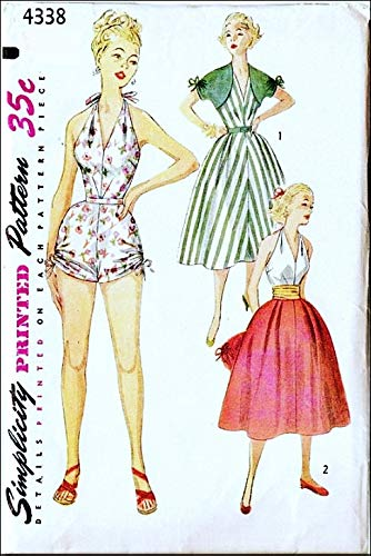 Simplicity 4338 Misses One-Piece Playsuit/Swimsuit, Skirt and Bolero, Vintage 50's Sewing Pattern, Check Listings for Size