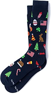 Men's Blue Every Occasion Holiday Valentine's Day Birthday Mid Calf Dress Crew Socks
