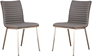 Armen Living LCCACHGRB201 Café Dining Chair Set of 2 in Grey Faux Leather and Brushed Stainless Steel Finish