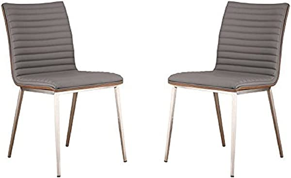 Armen Living LCCACHGRB201 Caf Dining Chair Set Of 2 In Grey Faux Leather And Brushed Stainless Steel Finish