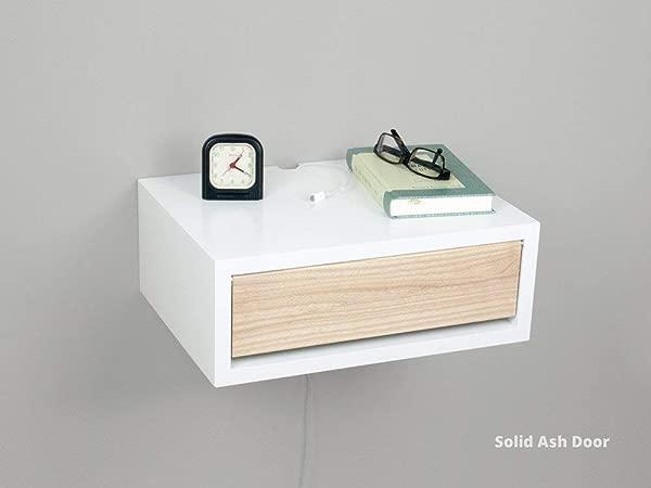 白色当代浮动床头柜壁挂式床头柜边桌床头柜
