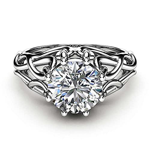 Anillo de diamantes de moissanita natural de 1 quilate en plata de ley 925 para compromiso