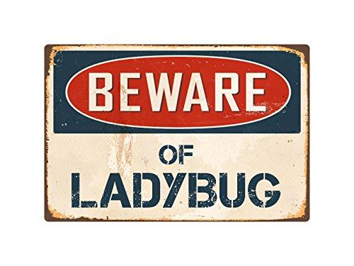 Metallschild Pirate Beware of Ladybug, 20,3 x 30,5 cm, Vintage-Stil, Metall VS247