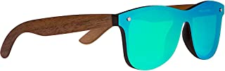 WOODIES Walnut Wood Sunglasses with Flat Mirror Polarized Lens