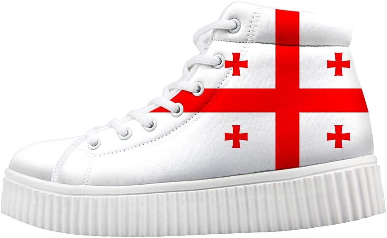Owaheson Platform Lace up Sneaker Casual Chunky Walking shoes Women Georgia Flag
