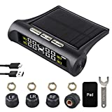 Car Tire Pressure Monitoring System - 6 Alarm Modes - Universal Wireless Smart Tire Safety Monitor with Solar and USB Charge, Include 4 External Cap Sensors, Real-Time Pressure & Temperature Alerts