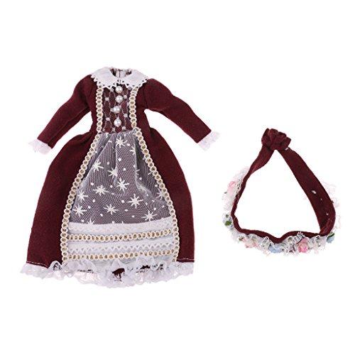 SM SunniMix Fashion Doll Spitzenkleid + Blumen Stirnband Anzug Für 1/6 Blythe Fashion Dolls Dunkelrot