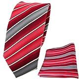 TigerTie schmale Designer Krawatte + Einstecktuch rot verkehrsrot tomatenrot creme grau gestreift