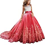 TTYAOVO Girls Embroidery Princess Dress Wedding Birthday Party Long Tail Prom Gowns Size(150) 10-11 Years Red