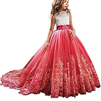 TTYAOVO Girls Embroidery Princess Dress Wedding Birthday Party Long Tail Prom Gowns Size 170  14-15 Years Red