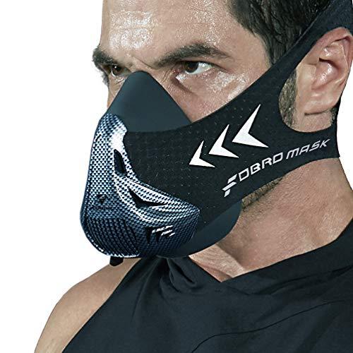 FDBRO Trainingsmaske Workout Maske- - High-Altitude-Endurance-Maske erhöht die Kraft, Laufwiderstand Sportmaske mit Tragetasche (Kohlefaser, S)