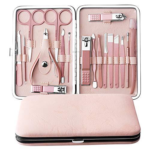 Manicure Set,Anself 18 pcs Kit deManicura Pedicura Profesional Herramientas de Cortauñas Recortador Afeitado de Cejas Herramienta de Corte de Pelo de Nariz (Rosa Rosa)