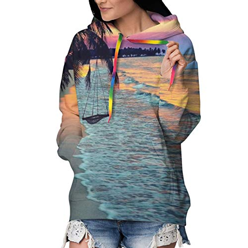 Coconut Beach Sunset Hammock,Hooded Sweatshirt for Girls Women, Hip-Hop Tops Streetwear, Black