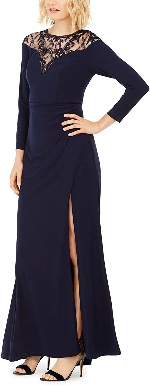 Adrianna Papell Women's Long Large-scale sale Beach Mall Jersey with Sequin Yoke Gown