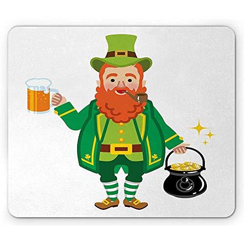 Alfombrilla para ratón, antideslizante, diseño de hombre irlandés con ropa folclórica que sostiene una taza de cerveza y macetas en la boca, rectangular de goma antideslizante