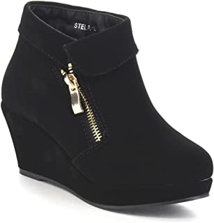 reputable site e29d0 83e73 Beston Lucky Top Stella-6K Children Girl s Platform Wedge Heel Fold Over  Ankle Booties Black