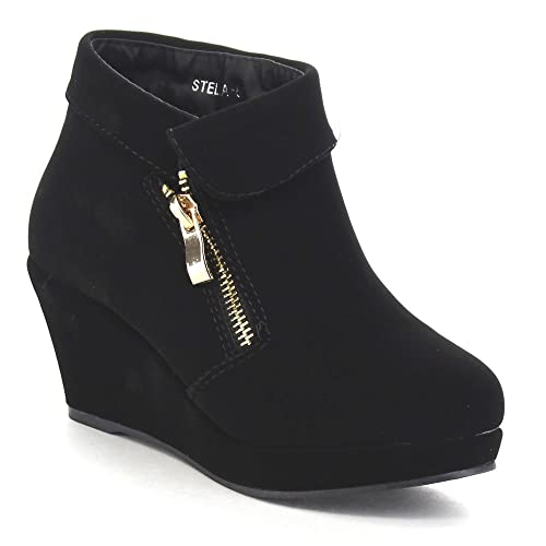 a30b497b16d Beston Lucky Top Stella-6K Children Girl s Platform Wedge Heel Fold Over Ankle  Booties Black