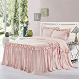 HIG 3 Piece Ruffle Skirt Bedspread Set King - Peach Pink Color 30 inches Drop Ruffled Style Bed Skirt Coverlets Bedspreads Dust Ruffles - Alina Bedding Collections - 1 Bedspread, 2 Standard Shams