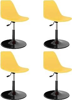 vidaXL 4X Sillas de Comedor Asiento Mobiliario Muebles Cocina Salón Sala de Estar Escritorio Suave Respaldo Decoración Giratorias PP Amarillo