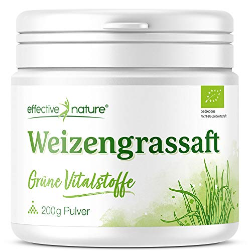 effective nature Weizengrassaft Pulver – Grüne Vitalstoffe, Bio- & Rohstoffqualität, Green Superfood, veganes Supergreen perfekt für Smoothies und Säfte, 200 g reines Pulver