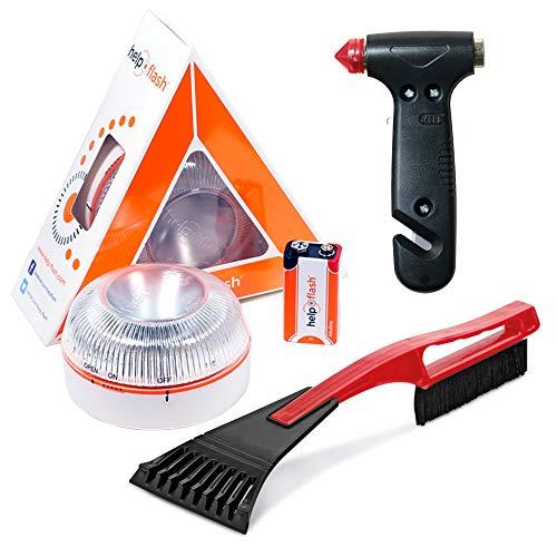 HELP FLASH - luz emergencia AUTÓNOMA peligro y linterna, homologada, normativa DGT, V16, activación AUTOMÁTICA + MARTILLO rompeventanas y cortador cinturón, y RASCADOR de hielo parabrisas
