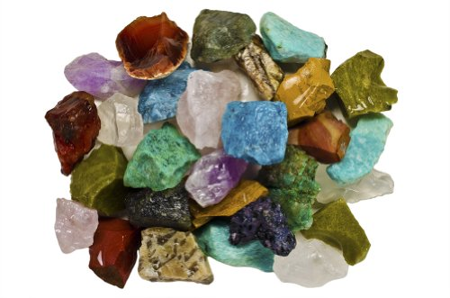Fantasia Materials: 3 Pounds (Best Value) Bulk Rough Madagascar Stone Mix - Raw Natural Crystals & Rocks for Cabbing, Cutting, Lapidary, Tumbling, Polishing, Wire Wrapping, Wicca & Reiki