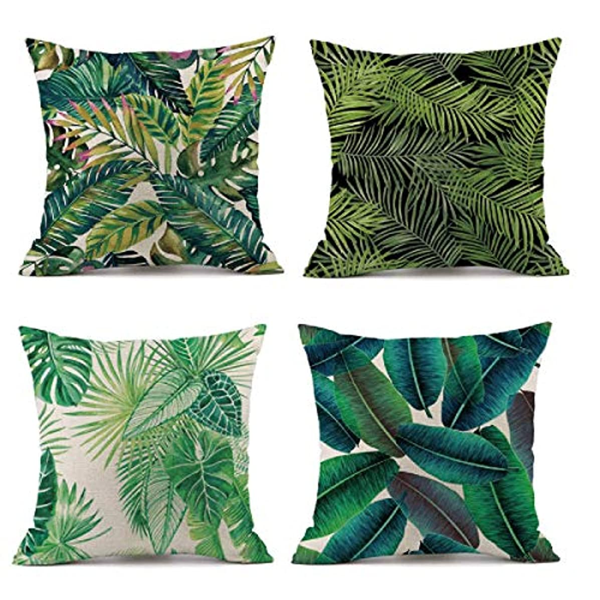 MELOODY Tropical Palm Leaves Summer Green Throw Pillow Covers Set of 4 Outdoor Patio Couch Sofa Decorative Cotton Linen Square Body Pillow Case Covers with Zipper 18x18 Inch