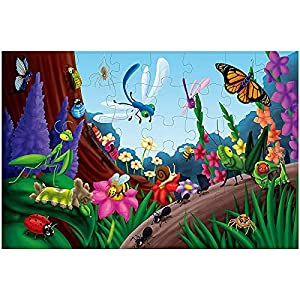 48-Piece Giant Floor Jigsaw Puzzles for Kids, Jumbo Bugs Game, 1.9 x 2.9 Feet