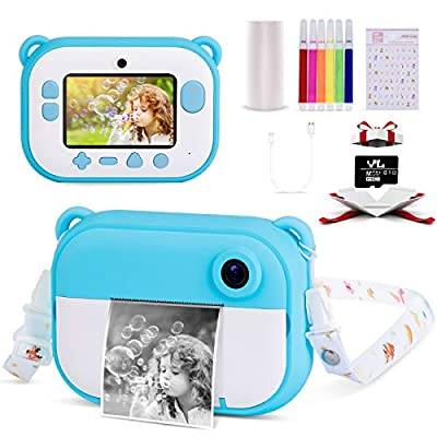Instant Camera for Kids 2.4inches IPS Screen,1080 HP Video Recorder, Kids Camera Digital Ink Print Children Camera with Print Paper for Boys and Girls, Instant Film Camera for Birthday from Ruidla