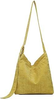 Ulisty Damen Cord Mode Schultertasche Beiläufig Handtasche Umhängetasche Gelb
