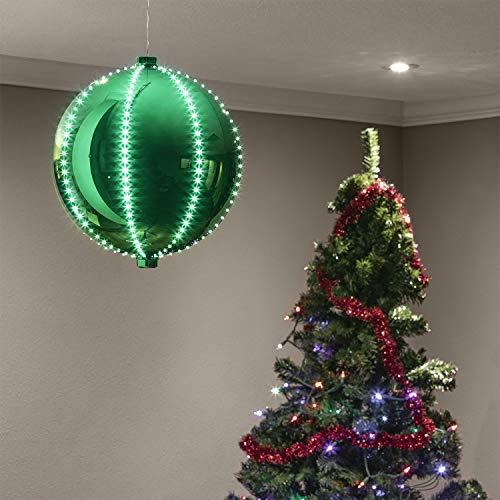 Alpine Corporation LPA108L-GN Hanging Christmas Ball Ornament with Chasing LED Lights Plug-in Festive Indoor Holiday Décor, 13-Inch Tall, Green