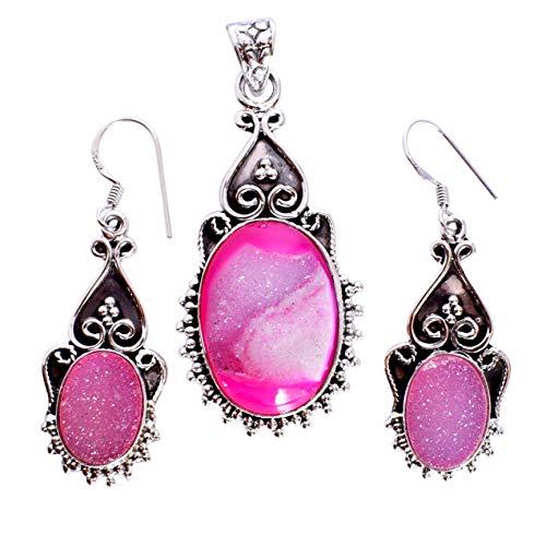 Juego de colgante y pendientes de plata de ley 925 con piedras preciosas drusas, regalo para ella FSJ-5301