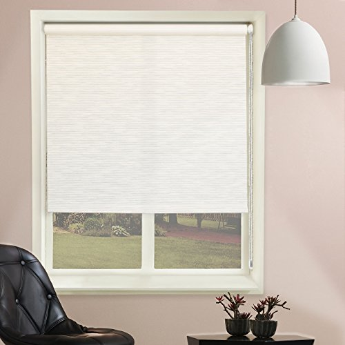 Chicology Continuous Loop Beaded Chain Roller Shades / Window Blind Curtain Drape, Natural Woven, Privacy - Candyfloss Vanilla, 48