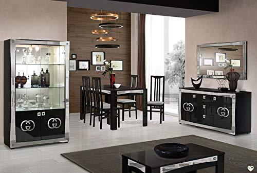 Ligne Goccia set met vitrine + buffet + spiegel + eettafel + 4 stoelen