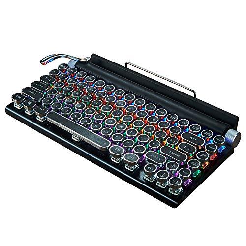 PQXOER Tastiere Bluetooth Tastiera DOT Retro Macchina da Scrivere Meccanica della Tastiera Punk keycap Phone Tablet Mac Bluetooth Meccanica Tastiere del Computer (Color : Black, Size : 31x17x3CM)